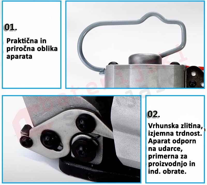 Pnevmatski spenjalec za PET in PP trak AIR–A 13-19mm pregled lastonsti